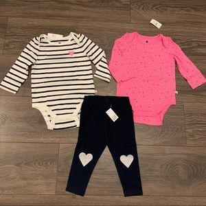 NWT Baby Gap Onesie/Legging Bundle, 12-18 months